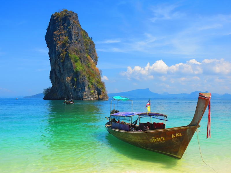 Longtail boat docked on Poda Island Beach in Krabi